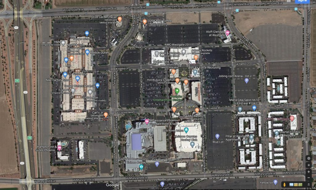 Westgate AZ Map as of April 2020 Courtesy of Google Maps